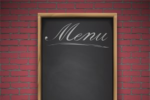 Menu chalkboard  brick back