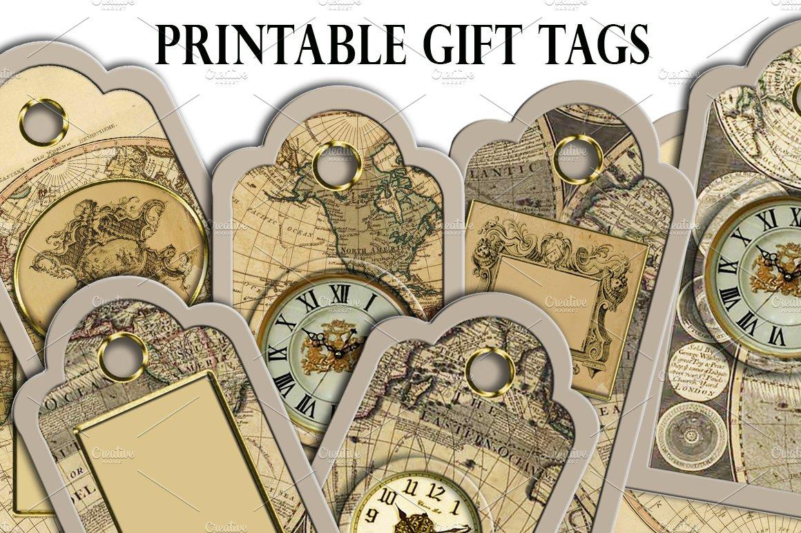 Christmas Steampunk Printable Tags Card Templates Creative Market