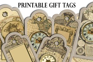 Christmas steampunk printable tags