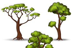 Set of flat stylized trees
