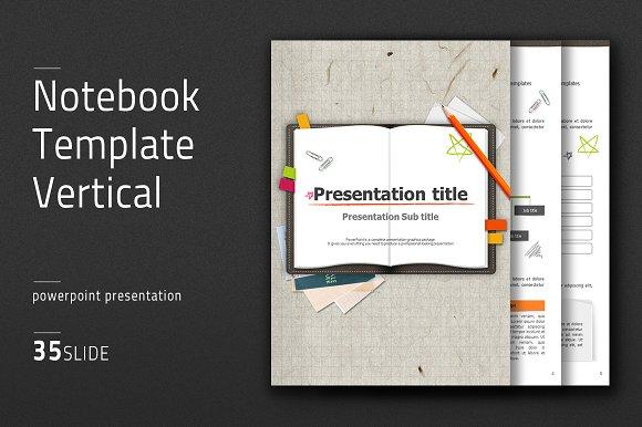 notebook template vertical presentation templates creative market