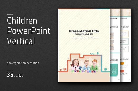 children powerpoint vertical presentation templates creative market