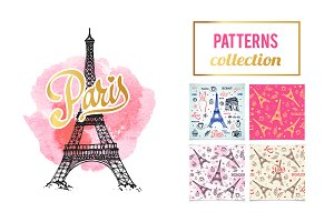 Paris Eiffel Towel illustrations set