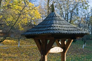 Ukrainian country wooden draw well