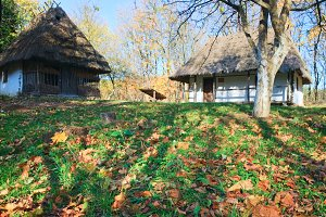 Ukrainian country wooden hut