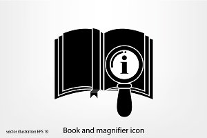 Book and magnifier icon