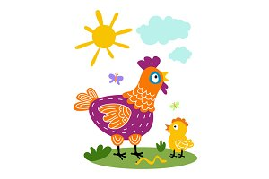 hen and chicks Funny vector cartoon