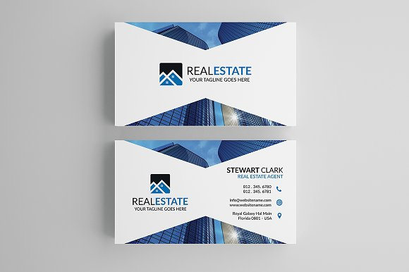 Modern real estate business card business card templates modern real estate business card business card templates creative market accmission Images