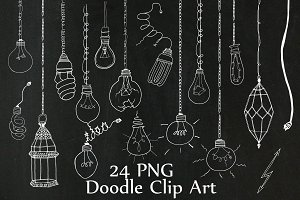 Chalkboard Light Bulb clipart