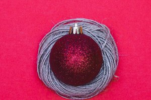 Christmas decoration on red
