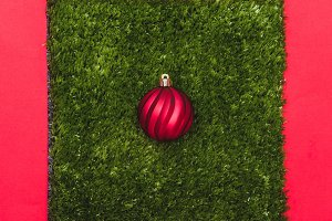 One red Christmas decoration