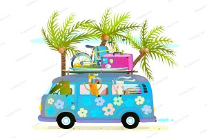 Holiday summer tropical trip bus