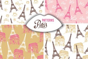 Paris Eiffel Towel vector patterns