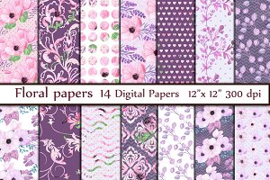 Pink Floral digital paper pack