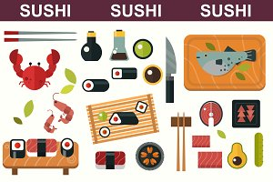 Sushi flat vector set