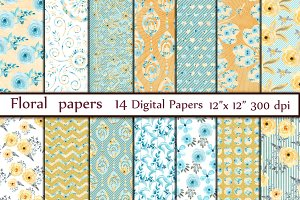 Mint digital floral paper pack