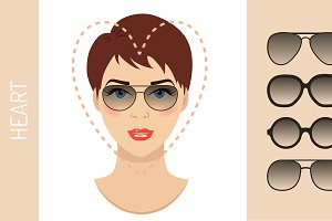 Sunglasses shapes for heart face