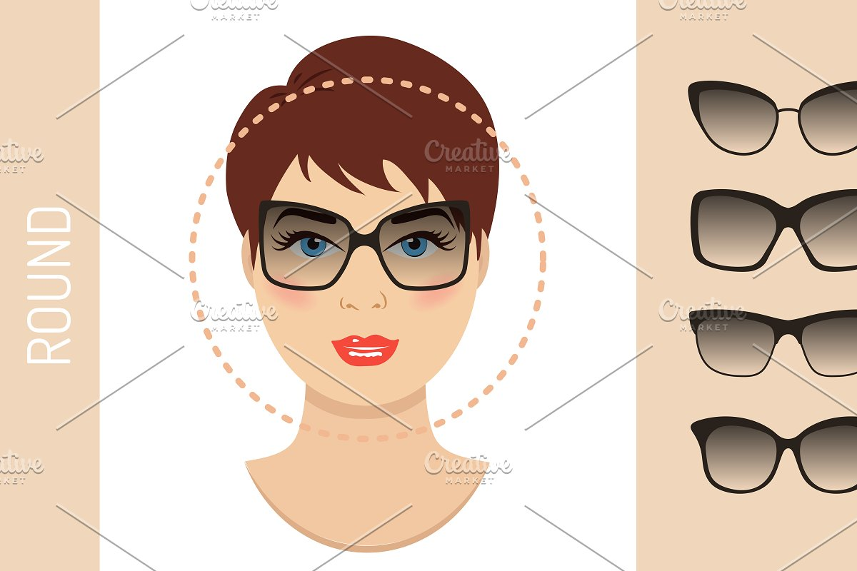 fa934d484b0 Sunglasses shapes for round face ~ Graphics ~ Creative Market
