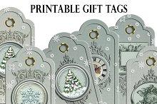 Christmas printable gift tags snow