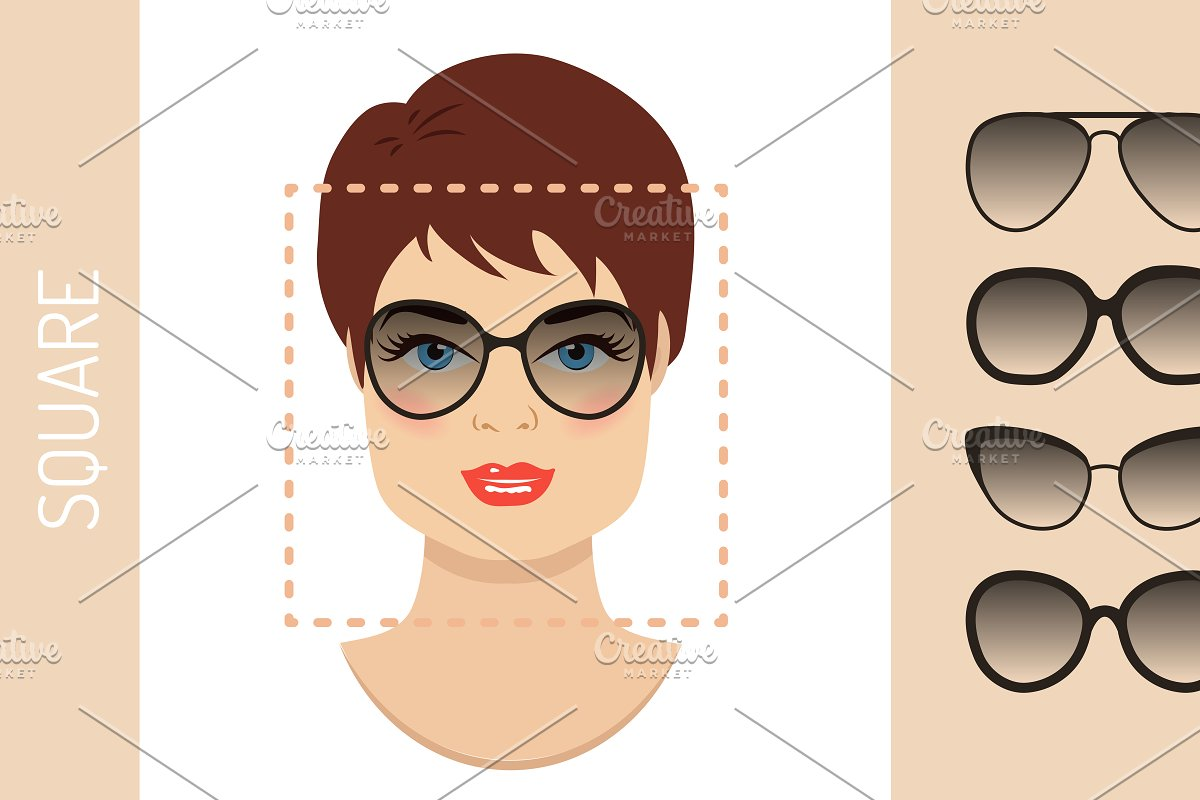 fbe75664fea Sunglasses shapes for square face ~ Graphics ~ Creative Market