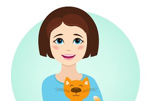 Girl with cute cat. Vector.
