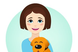Girl with cute dog. Vector.