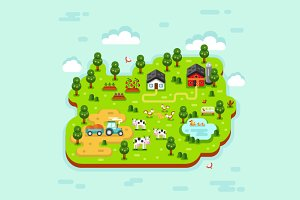 Farm 3D Vector Illustration