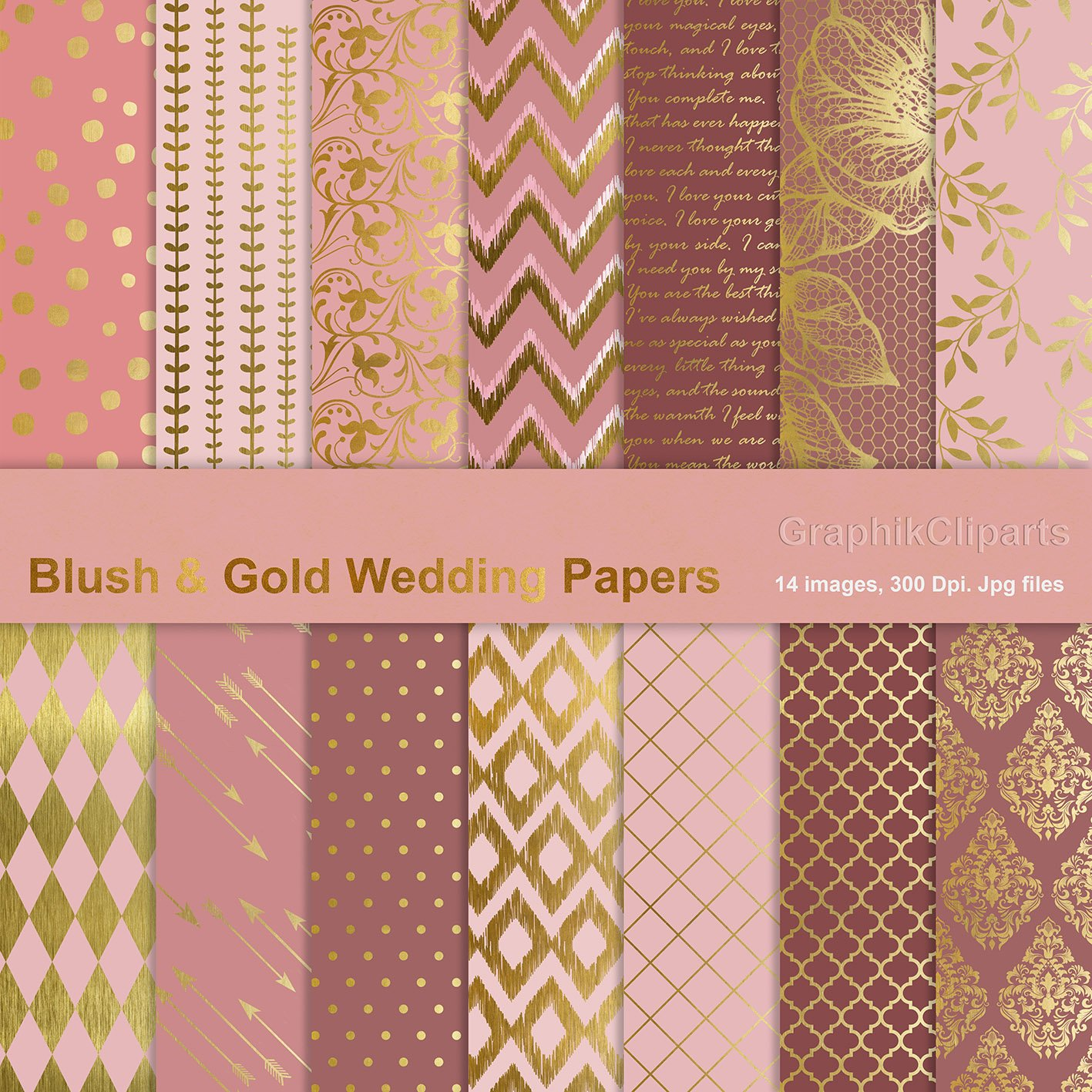 Blush Amp Gold Wedding Papers Graphic Patterns Creative