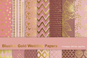 Blush & Gold Wedding Papers