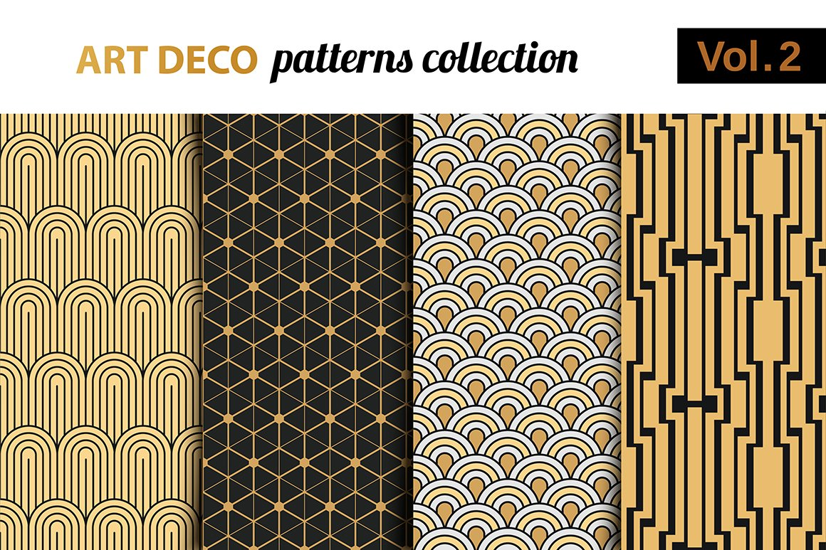 Art deco vector patterns set 2 patterns creative market for Art deco patterns