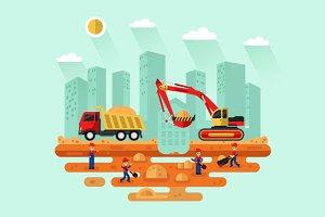 Excavator & Truck Vector