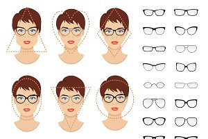 Woman glasses shapes. 9 faces.