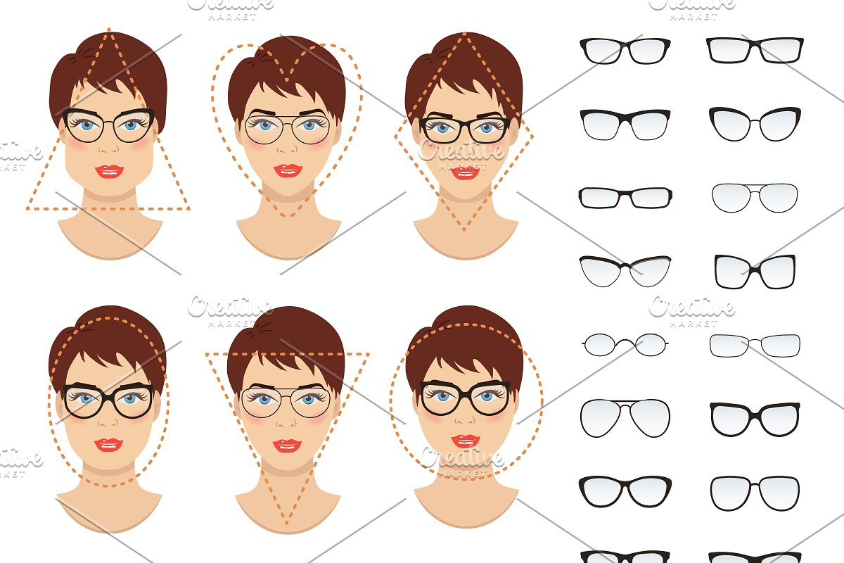 4e1b8d286a Woman glasses shapes. 9 faces. ~ Graphics ~ Creative Market