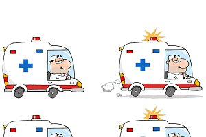 Doctor Driving Ambulance. Collection
