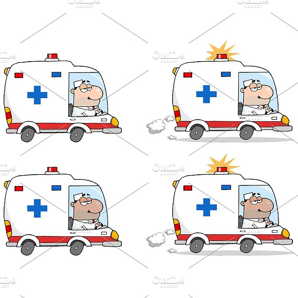 Doctor Driving Ambulance. Collection - Illustrations