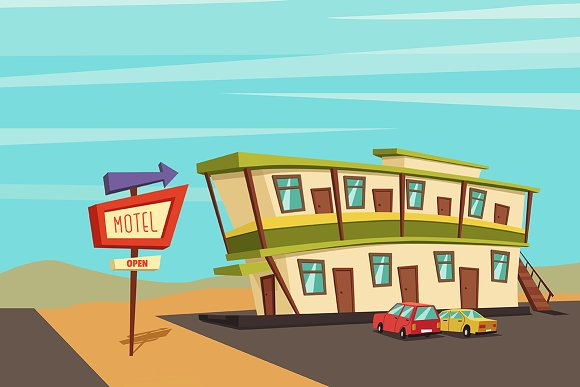 Motel in the desert. Place to rest - Illustrations