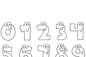 Outlined Cartoon Numbers Set