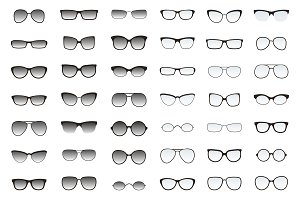Types of glasses and sunglasses.