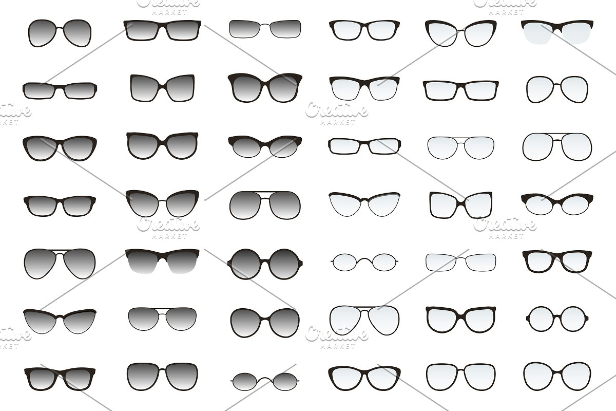 6f56e5241f6 Types of glasses and sunglasses. ~ Graphics ~ Creative Market