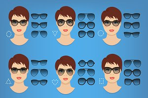 Woman sunglasses shapes. 9 faces.