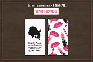 Beauty Salon services cards design