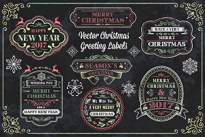 Vector Christmas Greeting Labels