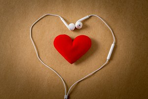 Music lover, heart and ear phone