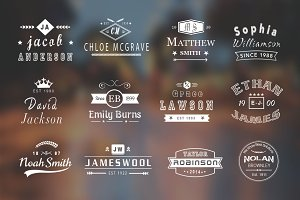 12 Vintage Name Logo Badges: 50% Off