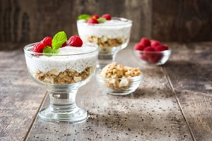 Chia yogurt with raspberries