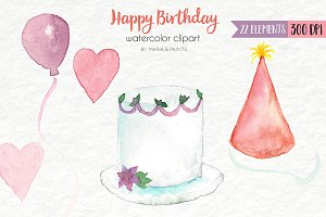 Watercolor Clip Art - Happy Birthday