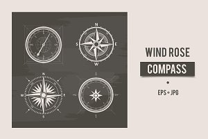 Vintage wind rose compasses in set