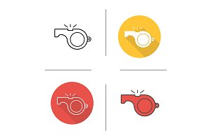 Whistle. 4 icons. Vector