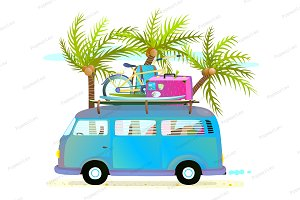 Holiday vacation Trip Bus with Palms
