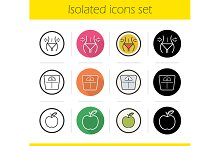 Dieting. 12 icons. Vector